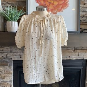 by the river polka dot ruched blouse